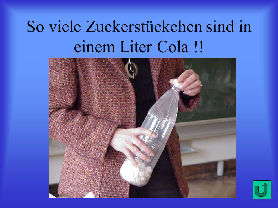 So viele Zuckerstückchen sind in einem Liter Cola !!