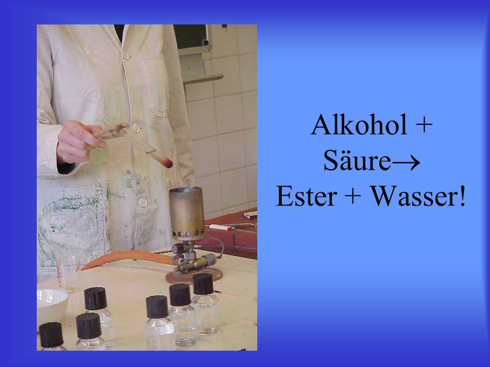Alkohol + Säure Ester + Wasser!