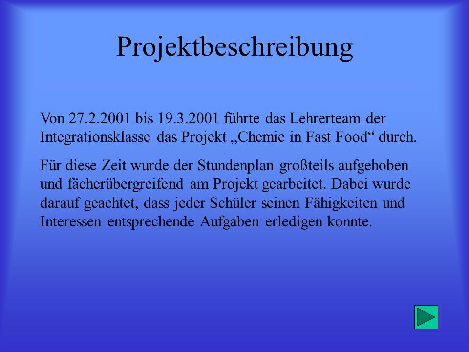 """Projektbeschreibung Von 27.2.2001 bis 19.3.2001 führte das Lehrerteam der Integrationsklasse das Projekt """"Chemie in Fast Food durch."""
