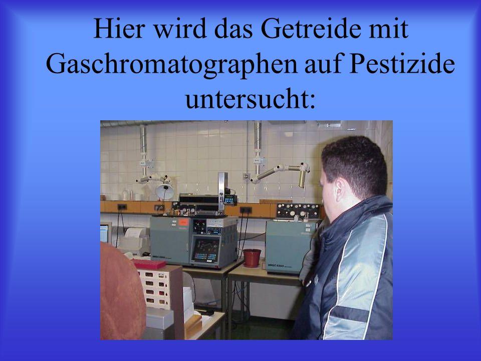 Hier wird das Getreide mit Gaschromatographen auf Pestizide untersucht: