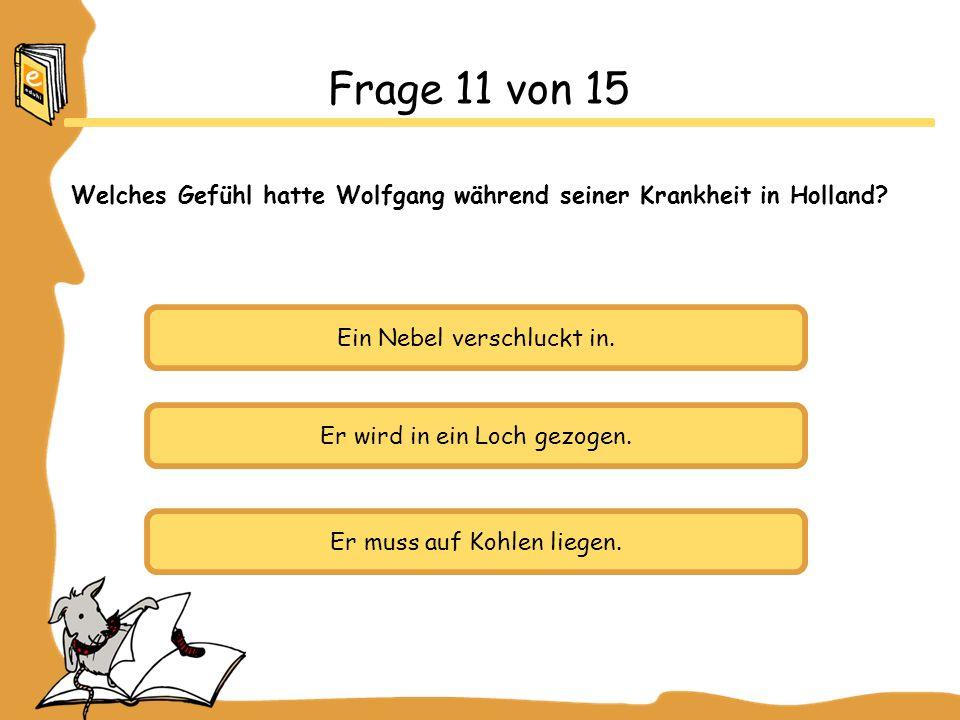 Welches Gefühl hatte Wolfgang während seiner Krankheit in Holland