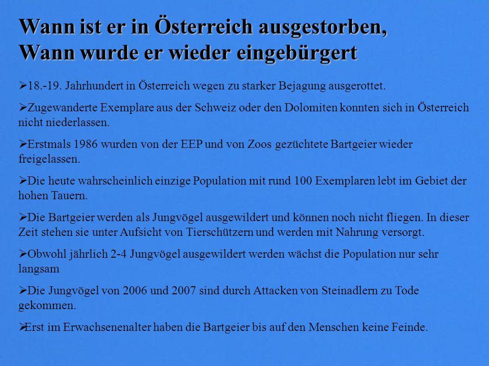 Wann ist er in Österreich ausgestorben, Wann wurde er wieder eingebürgert