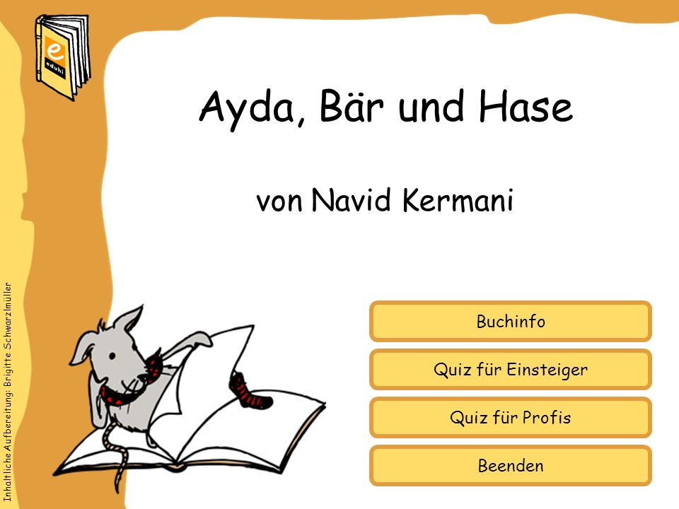 Ayda, Bär und Hase von Navid Kermani Buchinfo Quiz für Einsteiger