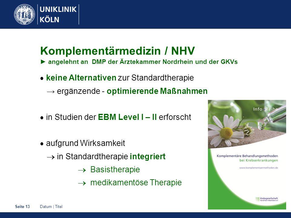 Komplementärmedizin / NHV ► angelehnt an DMP der Ärztekammer Nordrhein und der GKVs
