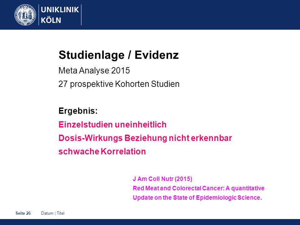 Studienlage / Evidenz Meta Analyse 2015