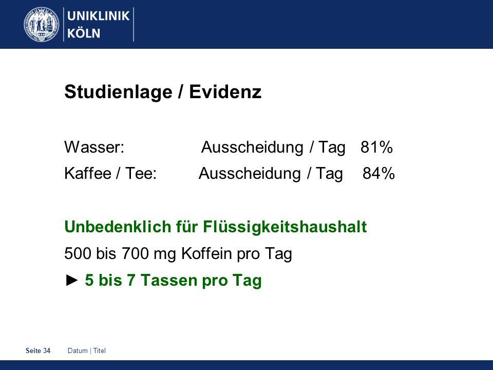 Studienlage / Evidenz Wasser: Ausscheidung / Tag 81%