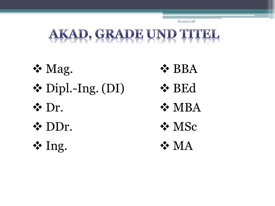 Akad. Grade und Titel Mag. Dipl.-Ing. (DI) Dr. DDr. Ing. BBA BEd MBA