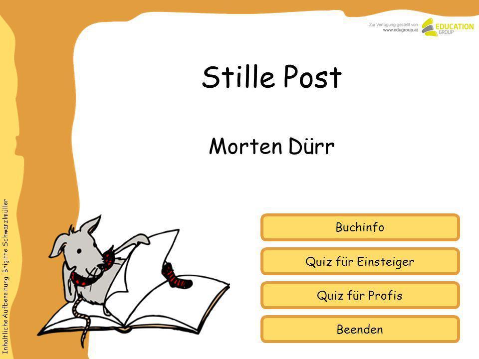 Stille Post Morten Dürr Buchinfo Quiz für Einsteiger Quiz für Profis