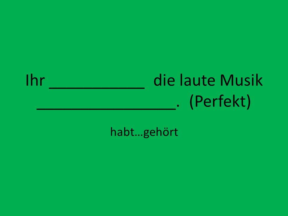 Ihr ___________ die laute Musik ________________. (Perfekt)