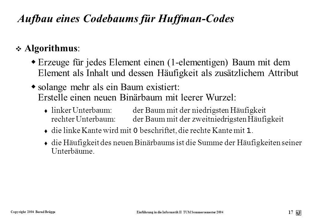 Aufbau eines Codebaums für Huffman-Codes
