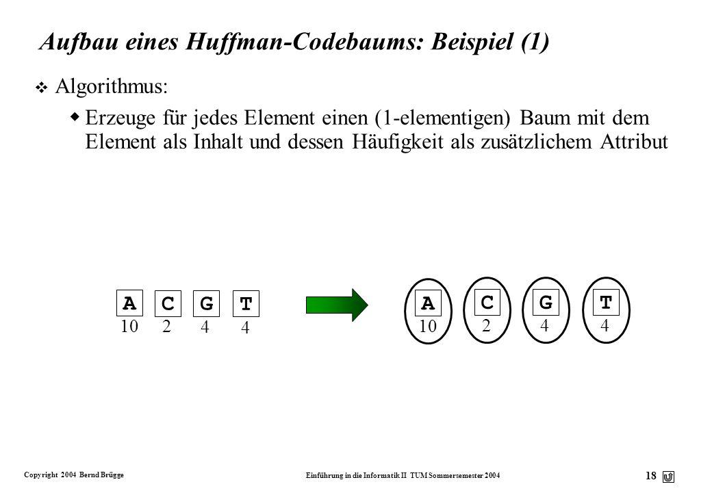Aufbau eines Huffman-Codebaums: Beispiel (1)