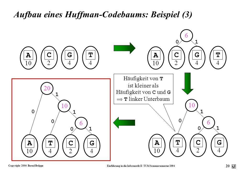 Aufbau eines Huffman-Codebaums: Beispiel (3)