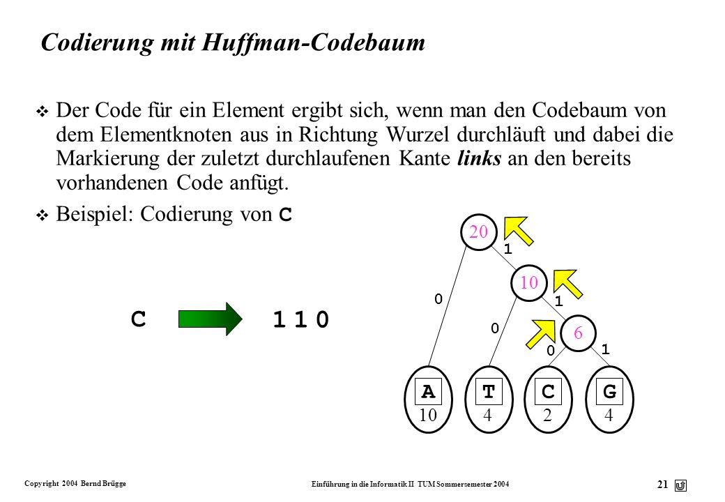 Codierung mit Huffman-Codebaum