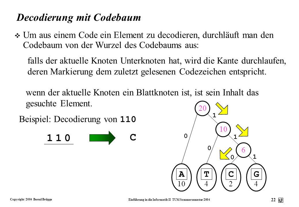 Decodierung mit Codebaum
