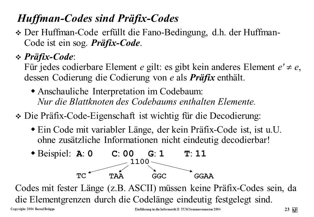 Huffman-Codes sind Präfix-Codes