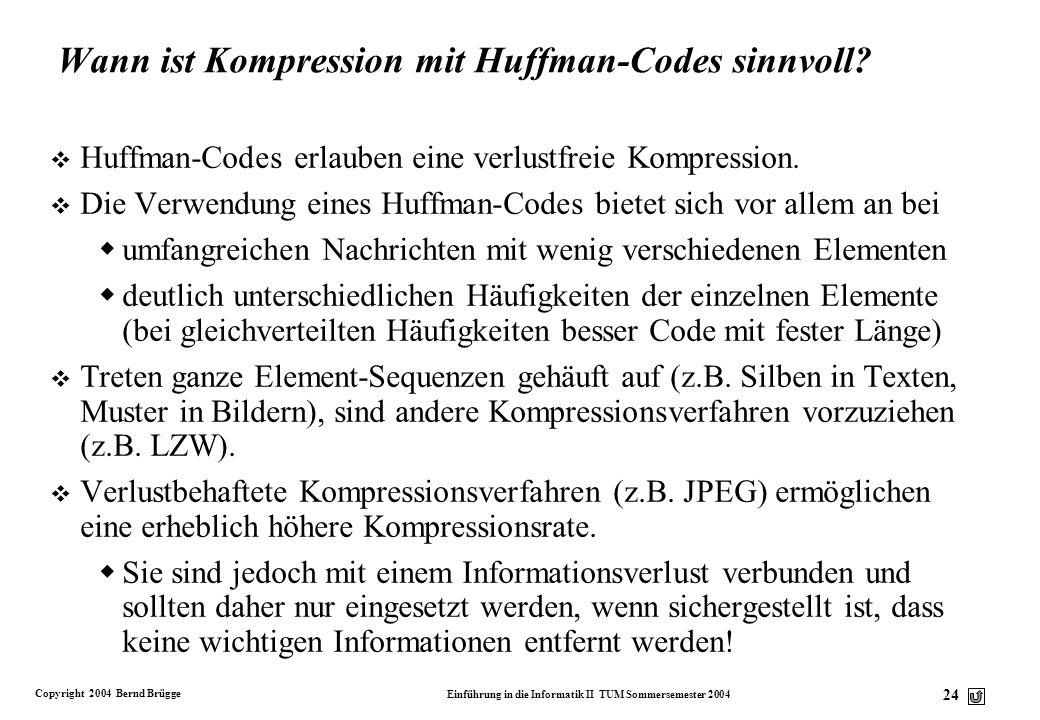 Wann ist Kompression mit Huffman-Codes sinnvoll