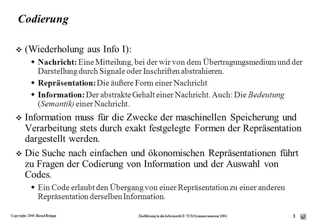 Codierung (Wiederholung aus Info I):