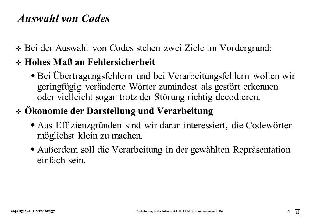 Auswahl von Codes Bei der Auswahl von Codes stehen zwei Ziele im Vordergrund: Hohes Maß an Fehlersicherheit.