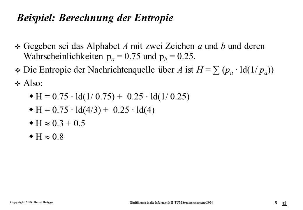 Beispiel: Berechnung der Entropie