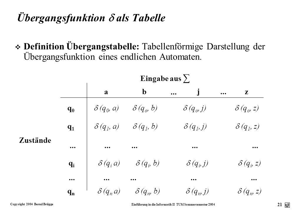 Übergangsfunktion  als Tabelle