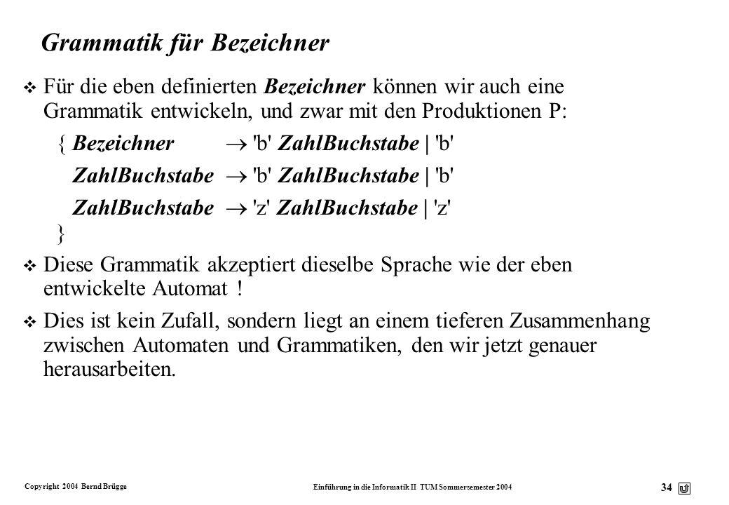 Grammatik für Bezeichner