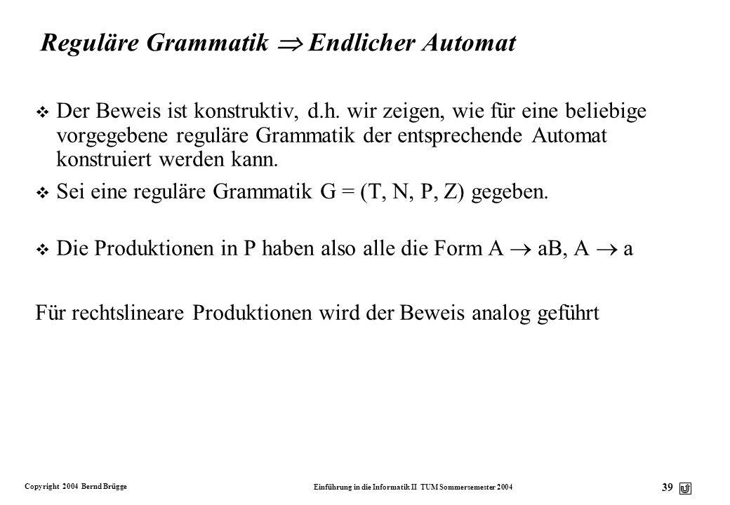Reguläre Grammatik  Endlicher Automat