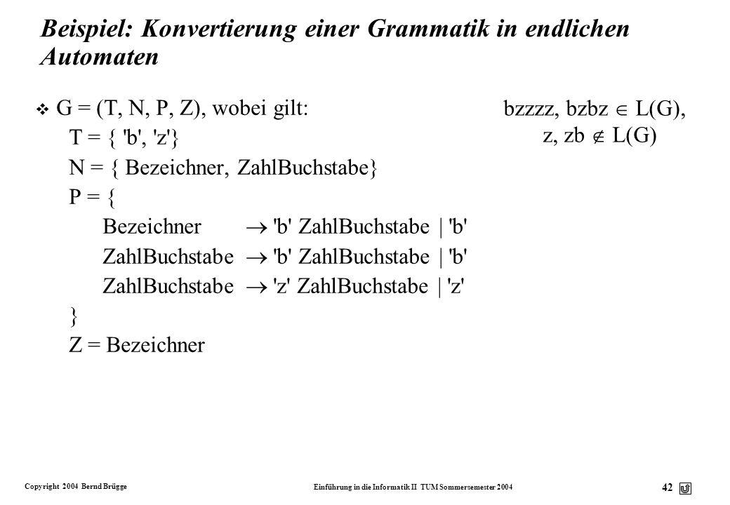 Beispiel: Konvertierung einer Grammatik in endlichen Automaten