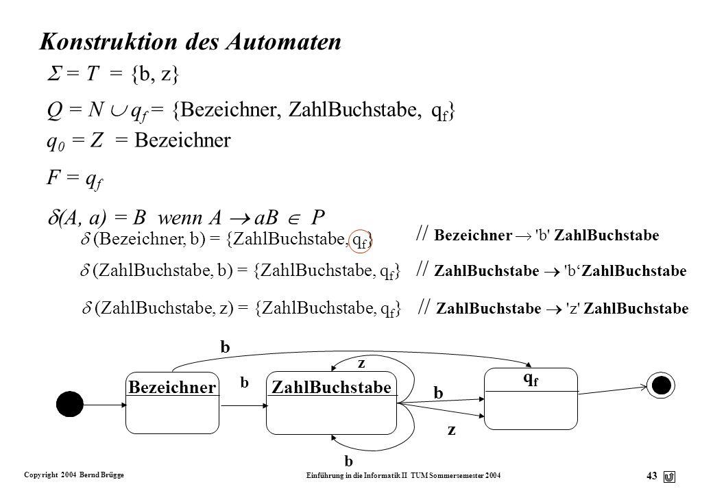 Konstruktion des Automaten