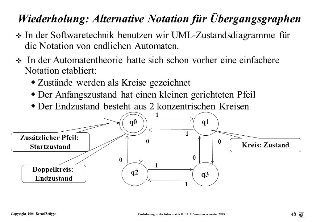 Wiederholung: Alternative Notation für Übergangsgraphen