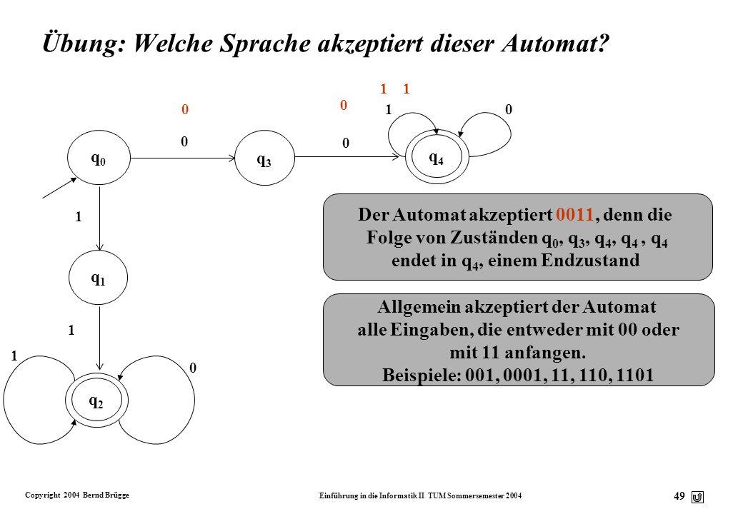 Übung: Welche Sprache akzeptiert dieser Automat