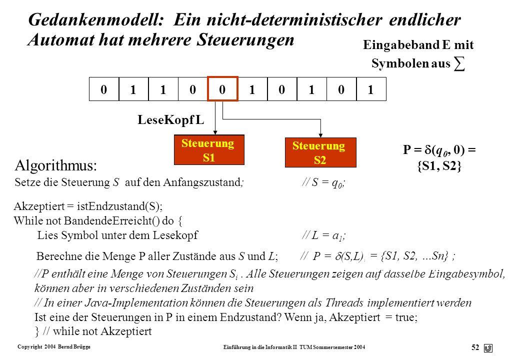 Gedankenmodell: Ein nicht-deterministischer endlicher Automat hat mehrere Steuerungen