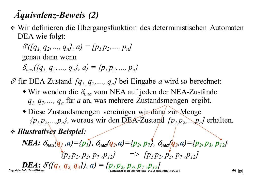 Äquivalenz-Beweis (2) Wir definieren die Übergangsfunktion des deterministischen Automaten DEA wie folgt: