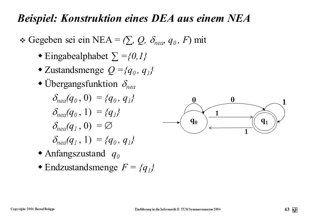 Beispiel: Konstruktion eines DEA aus einem NEA