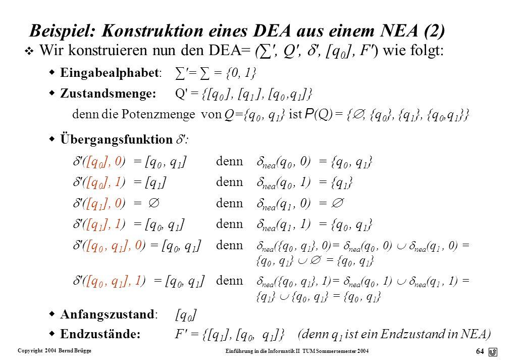 Beispiel: Konstruktion eines DEA aus einem NEA (2)