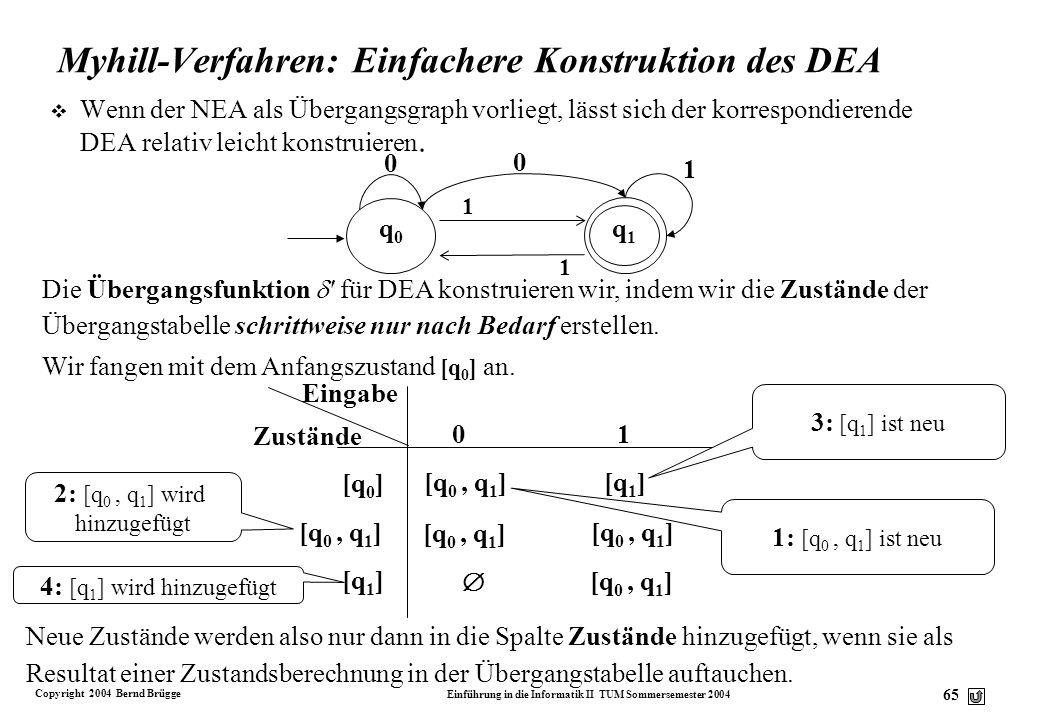 Myhill-Verfahren: Einfachere Konstruktion des DEA