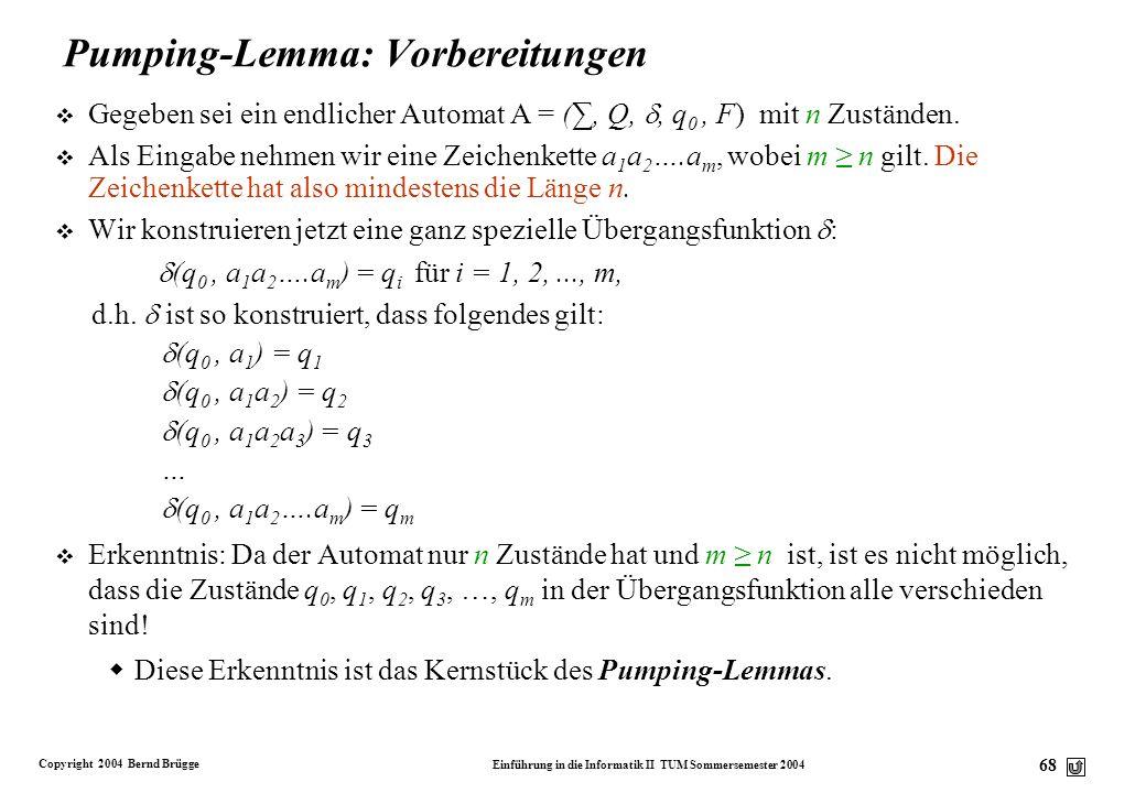 Pumping-Lemma: Vorbereitungen