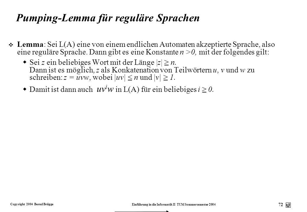 Pumping-Lemma für reguläre Sprachen