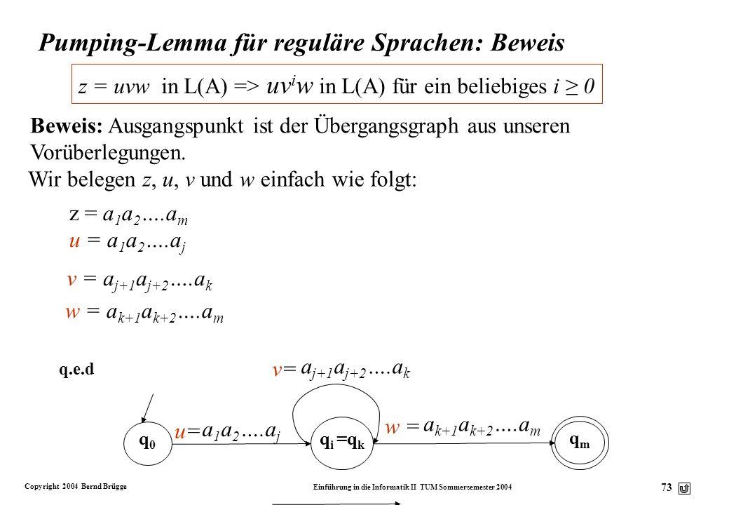 Pumping-Lemma für reguläre Sprachen: Beweis