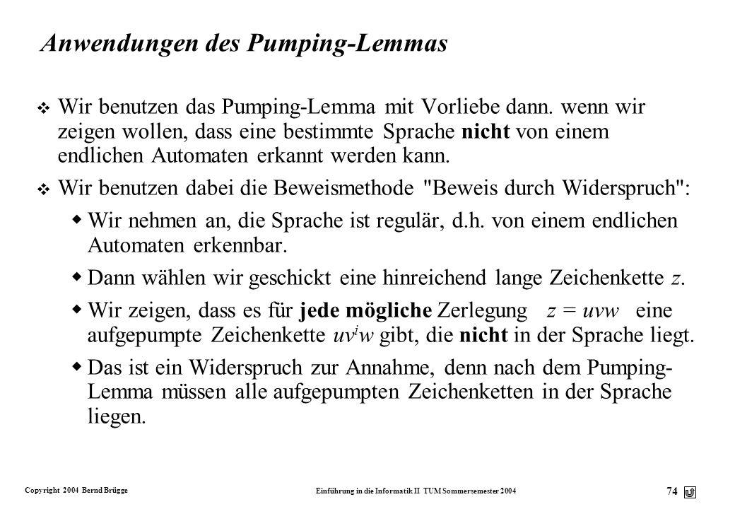 Anwendungen des Pumping-Lemmas
