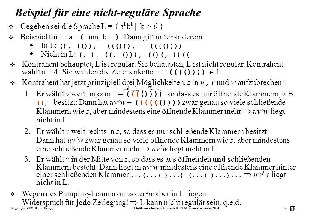 Beispiel für eine nicht-reguläre Sprache