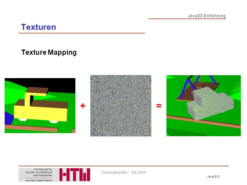 Texturen Texture Mapping + =