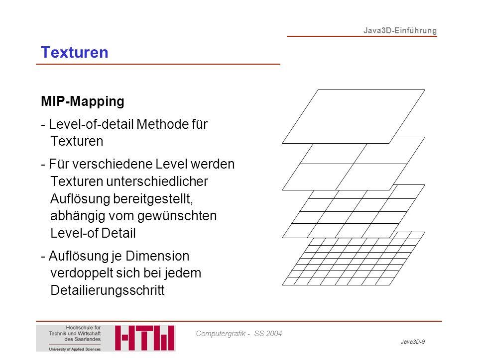 Texturen MIP-Mapping - Level-of-detail Methode für Texturen