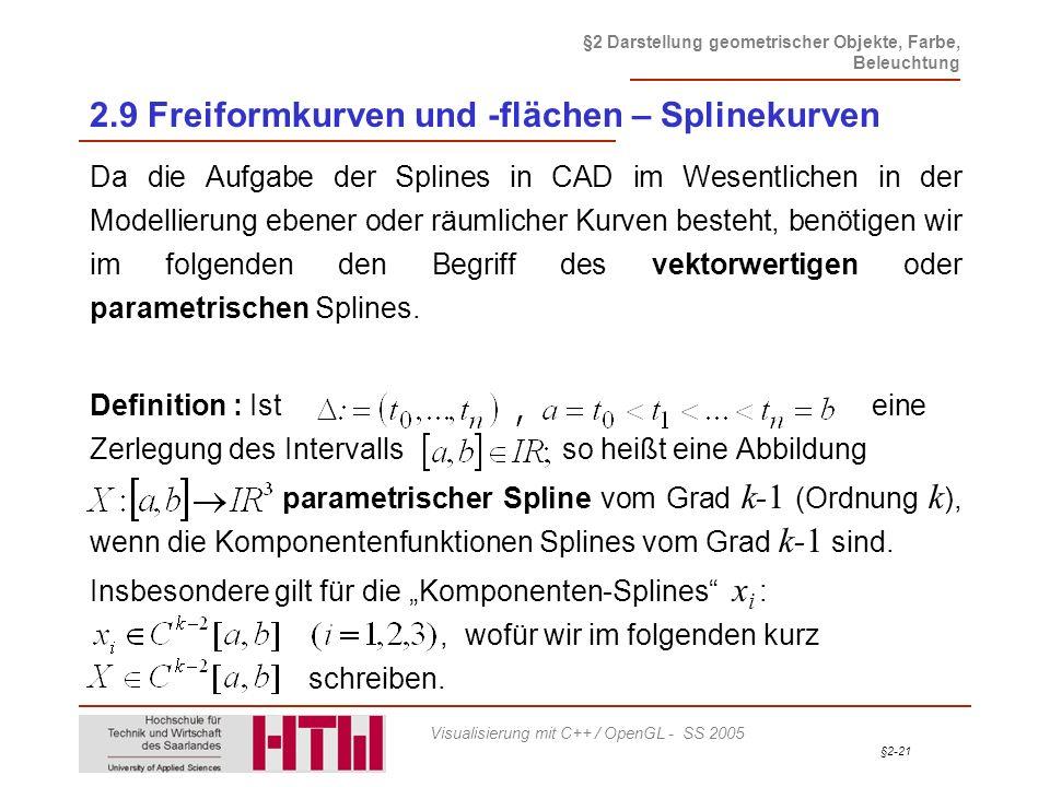2.9 Freiformkurven und -flächen – Splinekurven
