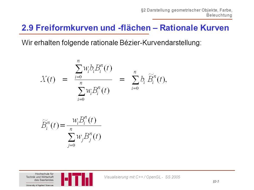 2.9 Freiformkurven und -flächen – Rationale Kurven