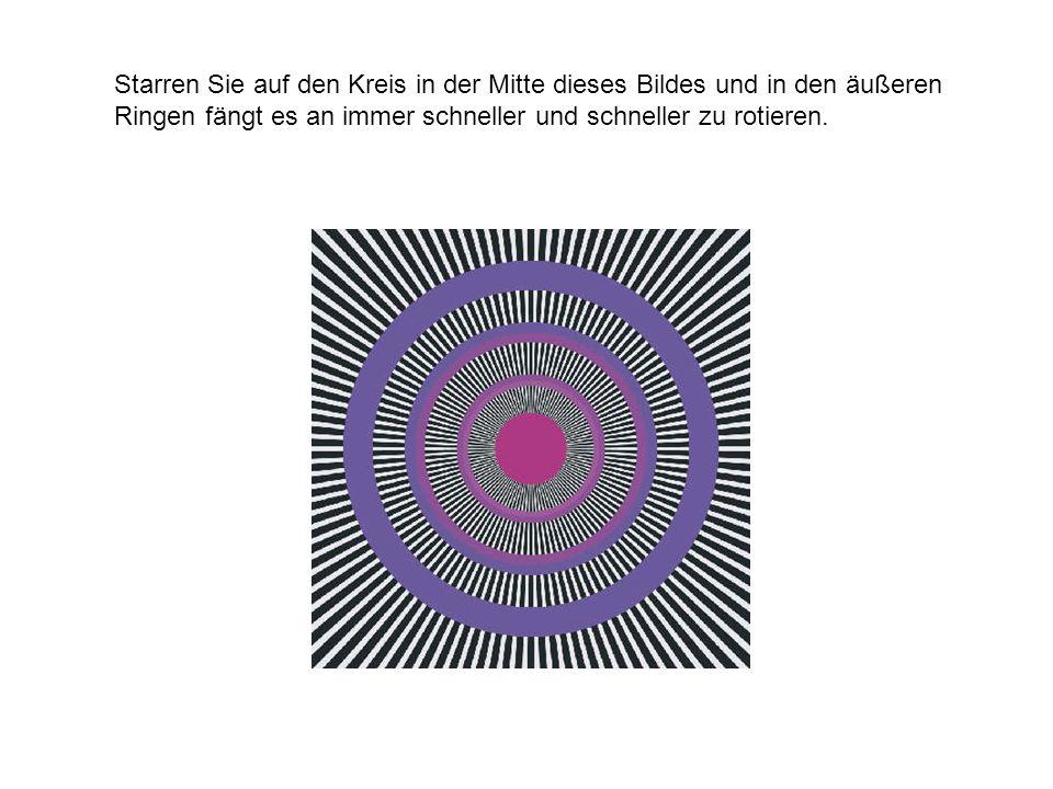 Starren Sie auf den Kreis in der Mitte dieses Bildes und in den äußeren Ringen fängt es an immer schneller und schneller zu rotieren.