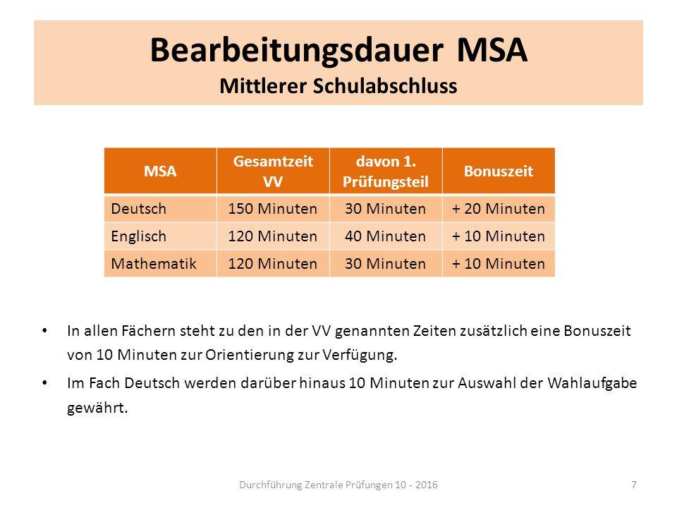 Bearbeitungsdauer MSA Mittlerer Schulabschluss