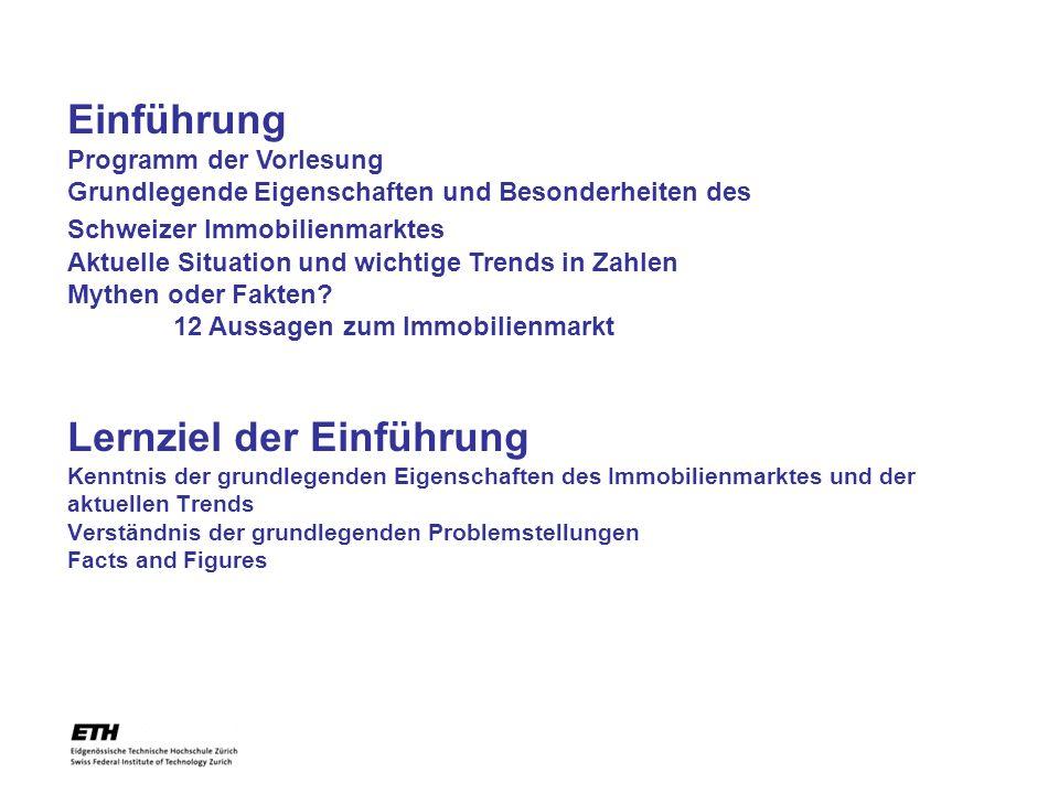 Einführung Programm der Vorlesung Grundlegende Eigenschaften und Besonderheiten des Schweizer Immobilienmarktes Aktuelle Situation und wichtige Trends in Zahlen Mythen oder Fakten 12 Aussagen zum Immobilienmarkt
