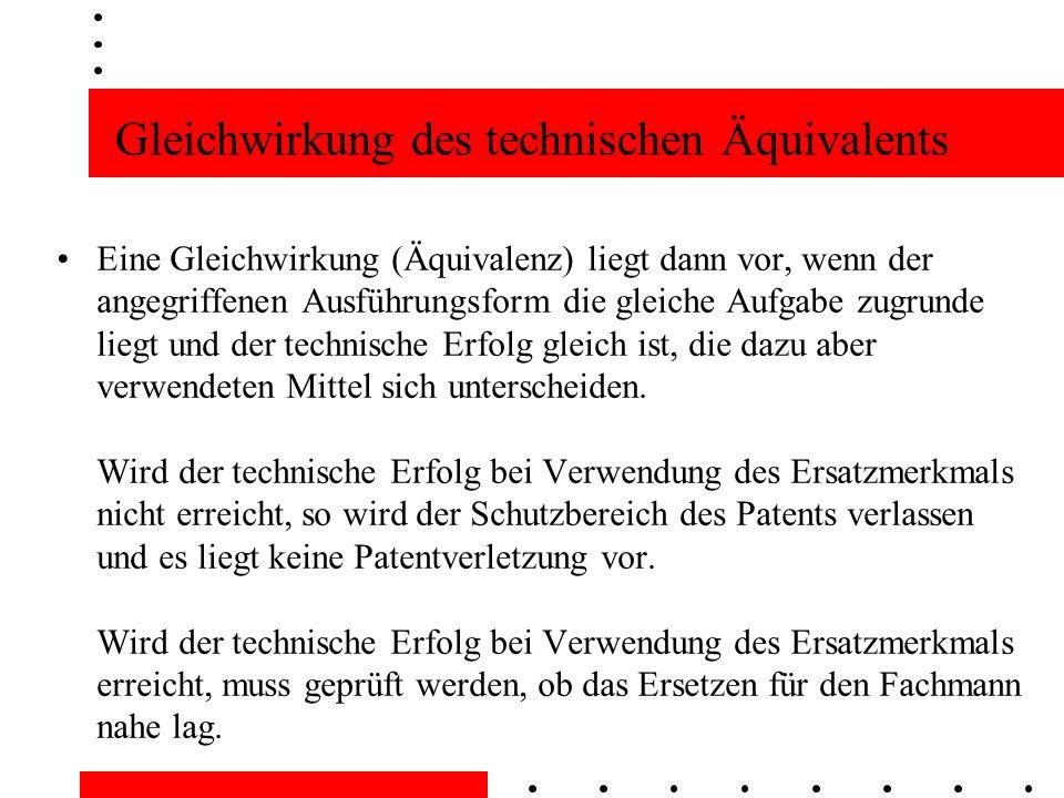 Gleichwirkung des technischen Äquivalents
