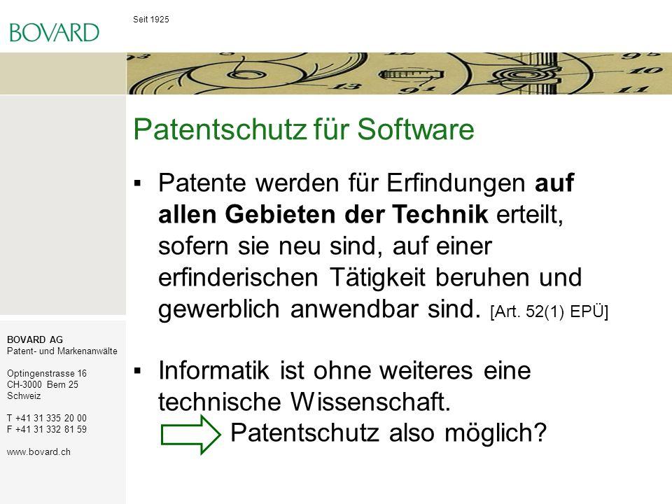 Patentschutz für Software