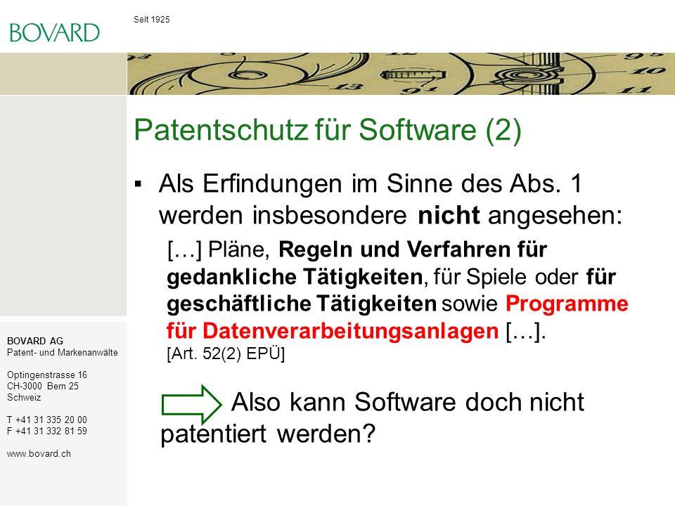 Patentschutz für Software (2)